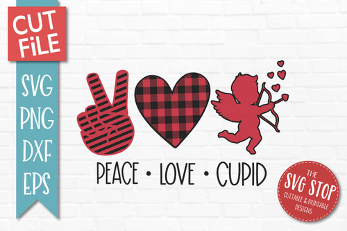 peace love Cupid svg  Valentines Day cut file clipart