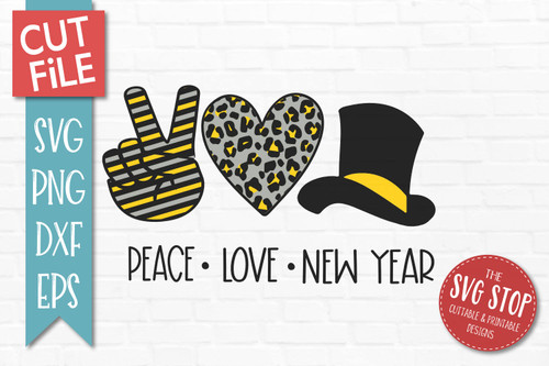 peace love New Year svg  cut file clipart