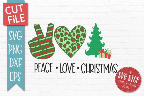 peace love Christmas svg  cut file clipart
