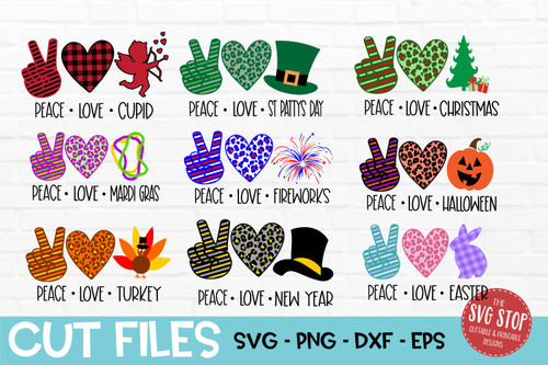 peace love bundle svg  holiday cut file clipart