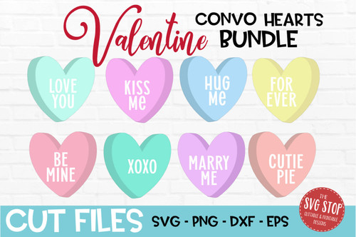 Convo Hearts Bundle svg cut file and sublimation design