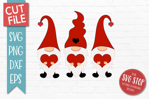 valentine gnomes svg cut file and sublimation design