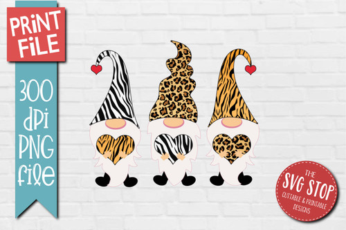 Gnomes Animal Print hats Design for Sublimation PNG file