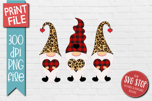 Gnomes red buffalo plaid cheetah hats Design for Sublimation PNG file