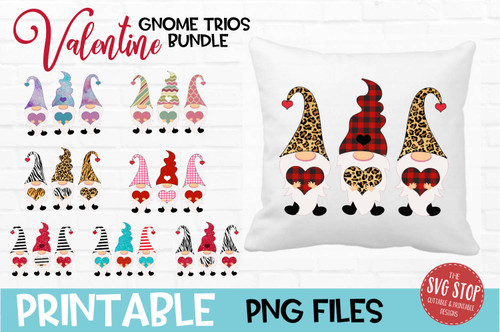 Gnomes Valentine Bundle Stripes Zebra Glitter hats Design for Sublimation PNG file