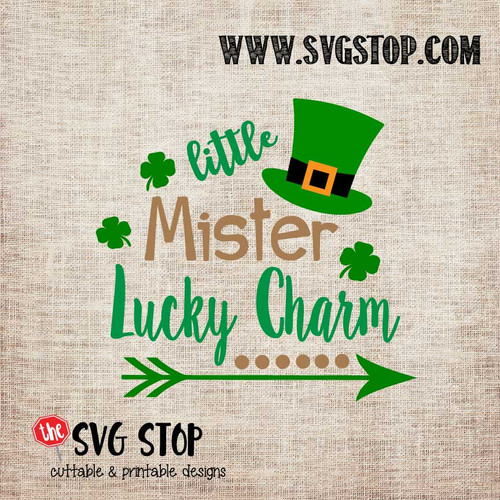 Little Mister Lucky Charm St. Patrick's Day Cut File Clip Art in SVG, DXF, JPG, PNG, and EPS format for Silhouette, Cricut, Brother Scan n cut, various other cutting machines and screen printing.