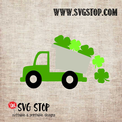 Shamrock Dump Truck St. Patrick's Day Cut File Clip Art in SVG, DXF, JPG, PNG, and EPS format for Silhouette, Cricut, Brother Scan n cut, various other cutting machines and screen printing.
