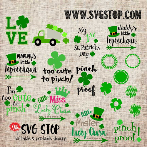 St. Patrick's Day Bundle Cut File Clip Art in SVG, DXF, JPG, PNG, and EPS format for Silhouette, Cricut, Brother Scan n cut, various other cutting machines and screen printing.