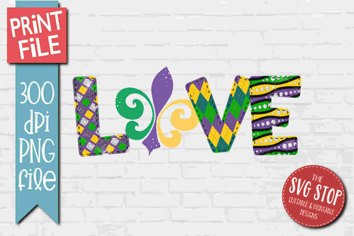 Mardi Gras Love2- PRINT File - Sublimation Design
