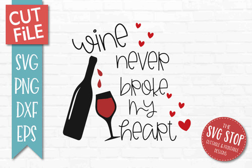 Wine Valentine SVG DXF Png Eps - Cut File 2