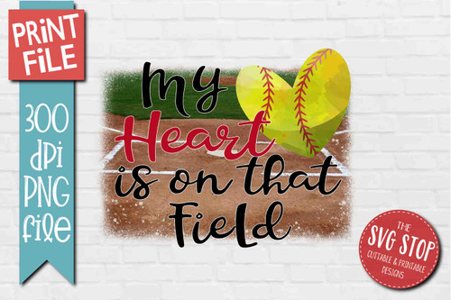Softball Heart Field - PRINT File - Sublimation Design