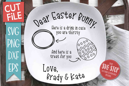 Easter Bunny Plate SVG DXF Png Eps - Cut File 1