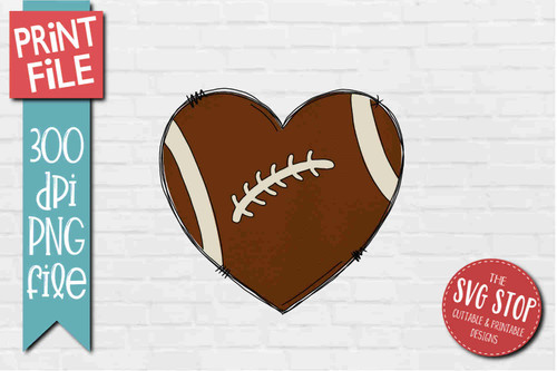 Football Doodle Heart - PRINT File - Sublimation Design