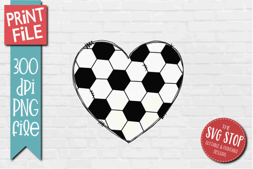Soccer Doodle Heart - PRINT File - Sublimation Design