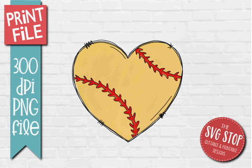 Softball Doodle Heart - PRINT File - Sublimation Design