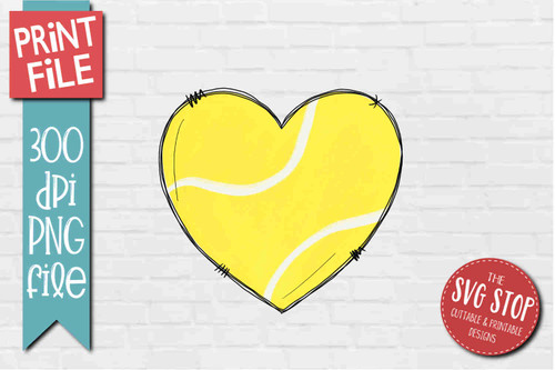 Tennis Doodle Heart - PRINT File - Sublimation Design