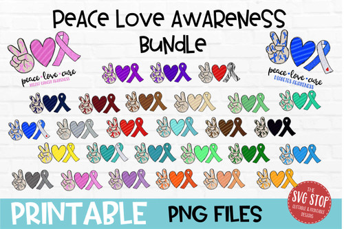 Peace Love Awareness Bundle - PRINT File - Sublimation Design