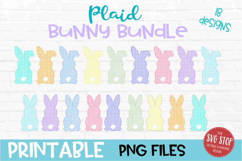 Plaid Bunny Bundle - PRINT File - Sublimation Design