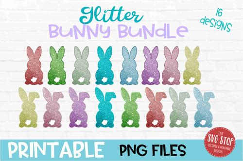 Glitter Bunny Bundle - PRINT File - Sublimation Design