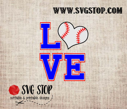 Love Baseball Heart Cut File in SVG, DXF, JPG, PNG, and EPS