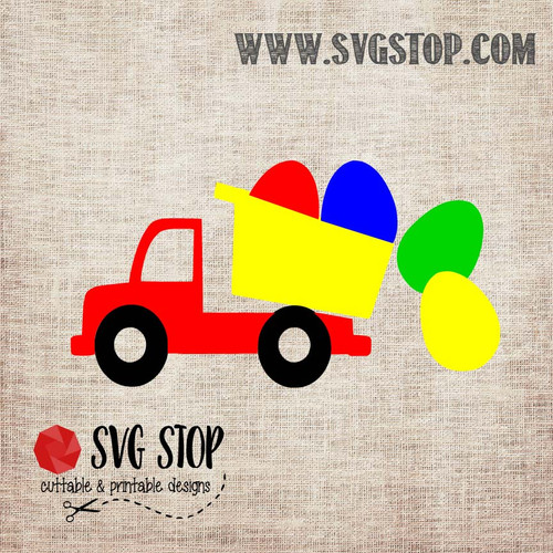 SVG Stop's Dump Truck with Eggs Easter SVG, DXF, JPG, PNG, and EPS format cut file clipartfor Silhouette, Cricut, Brother Scan n cut, andvarious other cutting machines.