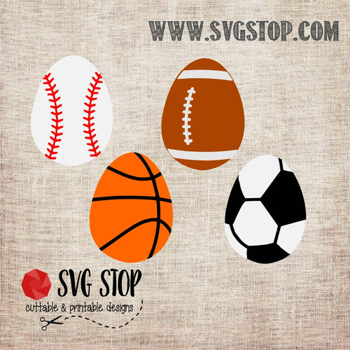 SVG Stop's Baseball, Football, Soccer, Basketball Easter Eggs  SVG, DXF, JPG, PNG, and EPS format cut file clip art for Silhouette, Cricut, Brother Scan n cut, and various other cutting machines.