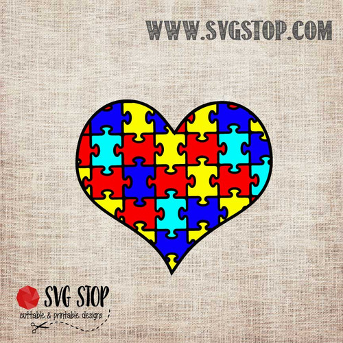 Autism Awareness Puzzle Pieces Heart SVG, DXF, JPG, PNG, and EPS format cut file clip art for Silhouette, Cricut, Brother Scan n cut, and various other cutting machines.