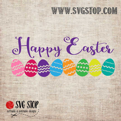 Happy Easter Eggs SVG, DXF, JPG, PNG, and EPS format cut file clip art for Silhouette, Cricut, Brother Scan n cut, and various other cutting machines.