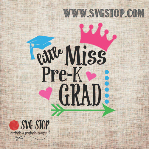 Little Miss PreK Grad SVG, DXF, JPG, PNG, and EPS format cut file clip art for Silhouette, Cricut, Brother Scan n cut, and various other cutting machines.