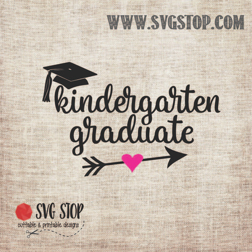 Kindergarten Graduate Arrow SVG, DXF, JPG, PNG, and EPS format cut file clip art for Silhouette, Cricut, Brother Scan n cut, and various other cutting machines.