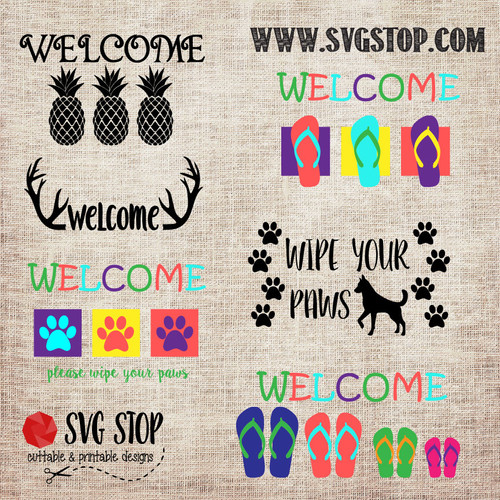 Welcome Mat Bundle of 6 SVG, DXF, JPG, PNG, and EPS format cut file clip art designs for Silhouette, Cricut, Brother Scan n cut, and various other cutting machines.