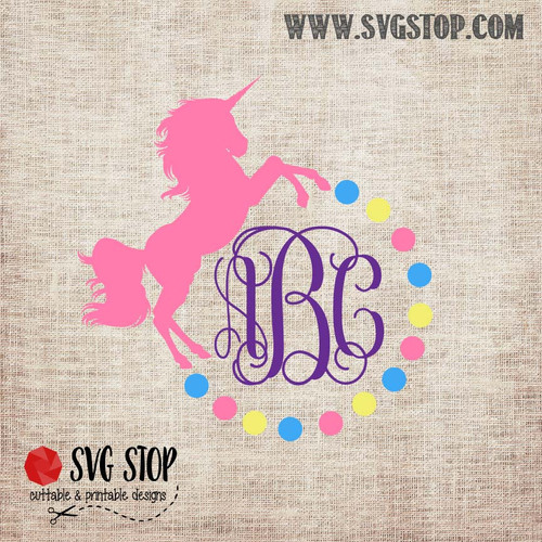 Unicorn Monogram Frame Freebie SVG, DXF, JPG, PNG, and EPS format cut file clip art for Silhouette, Cricut, Brother Scan n cut, and various other cutting machines.