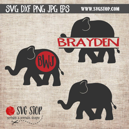 Elephant Monogram Frames Cut File Clip Art