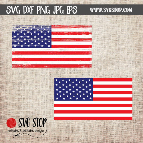 American Flag Clip Art Cut File Design