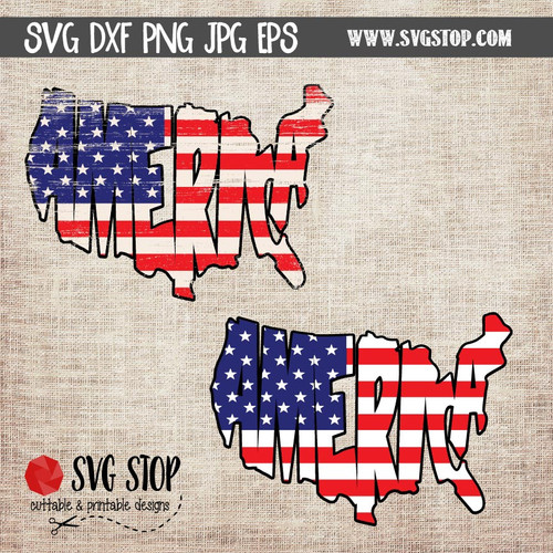 American Flag Word Art clip art cut file
