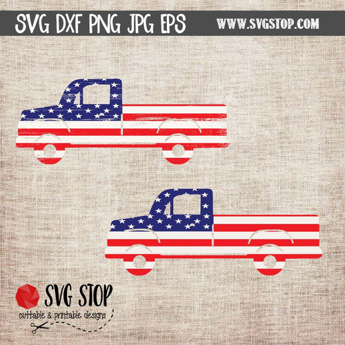 American Flag Truck Clip Art Cut File