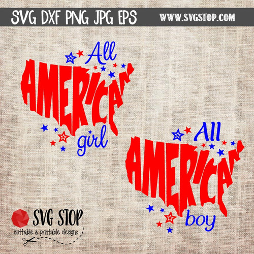 All American Girl All American Boy Clip Art Cut File SVG