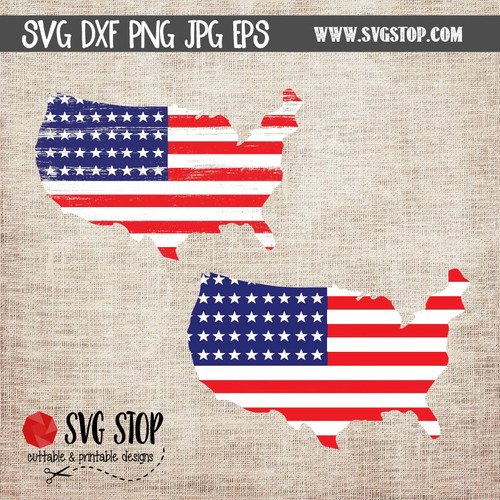 United States Shaped Flag SVG Clip Art Cut File