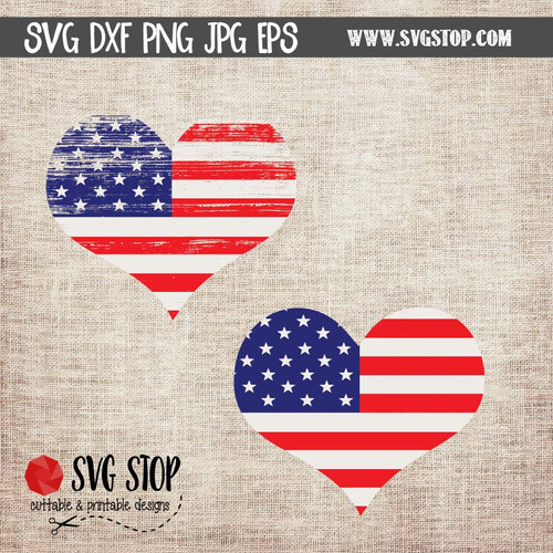 Flag Heart Clip Art Cut File SVG