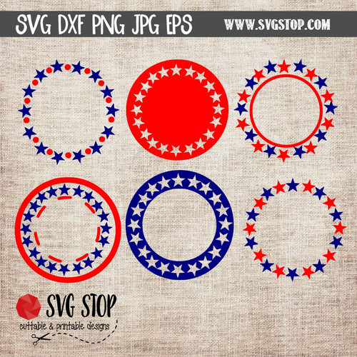 Star monogram frames clip art cut file svg