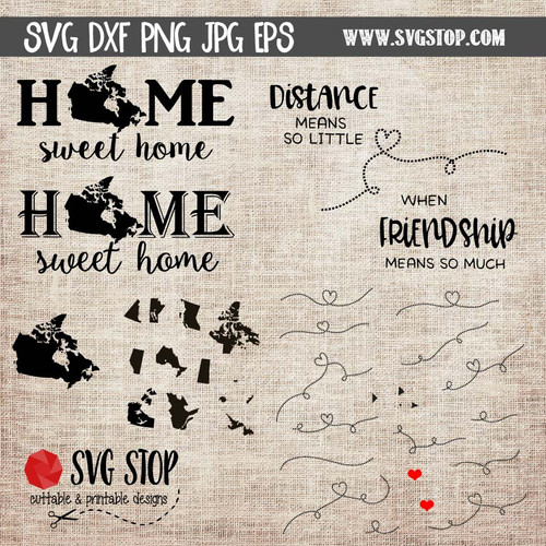 Canada Home Sweet Home and State to State Cut File Clip Art