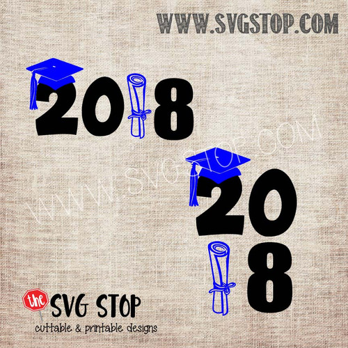 2018 Cap and Diploma Graduation SVG, DXF, JPG, PNG, and EPS format cut file clip art