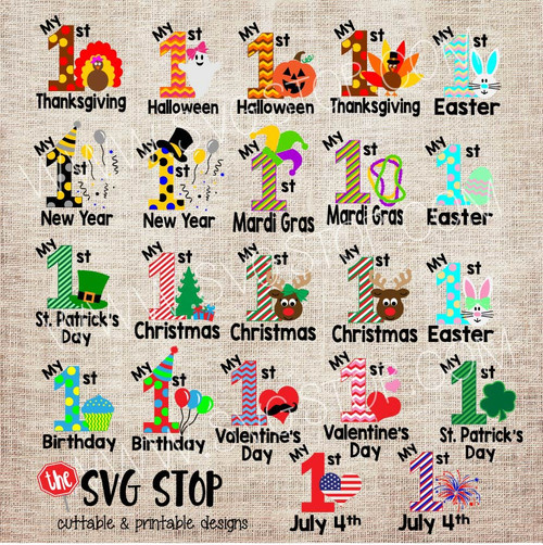 Baby's 1st Holidays, Christmas, Thanksgiving, Easter, Mardi Gras, New Years, July 4th, Birthday, Halloween, Cut File, Clip Art