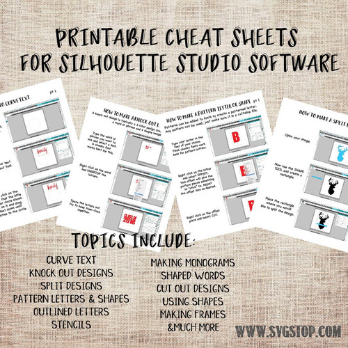 printable cheat sheets for silhouette studio