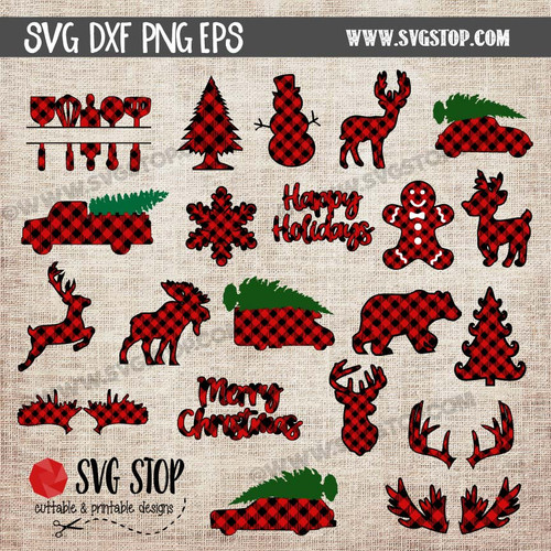 buffalo plaid pattern christmas designs cut file clipart digital download