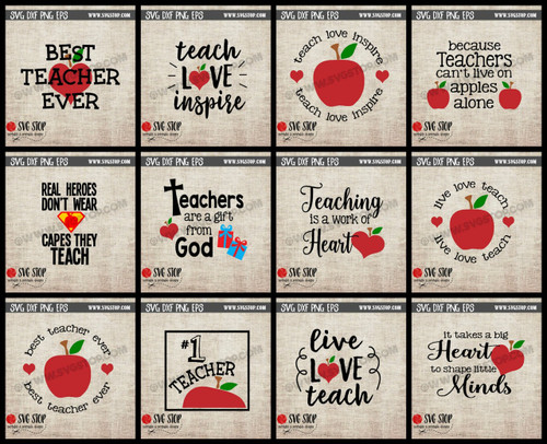 teacher appreciation clipart cutfiles svg bundle apple