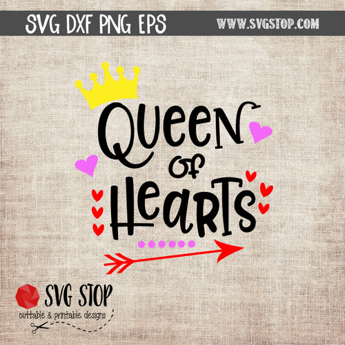 Queen Of Hearts SVG cut file valentines day clip art