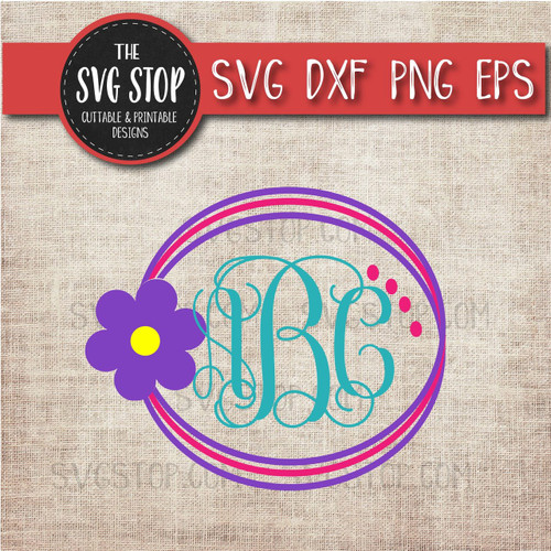 simple flower circle monogram frame svg clipart cut file