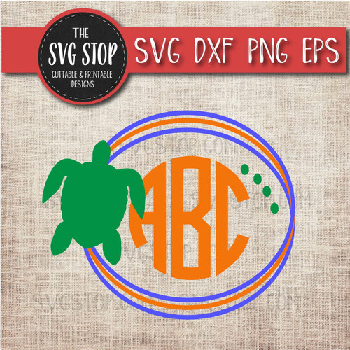 turtle circle monogram frame svg clipart cut file