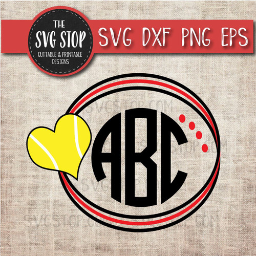 tennis heart circle monogram frame svg clipart cut file